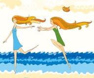 Girls running on a beach. Tow running girls on a beach vector illustration