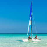 Girls sailing on a  catamaran at Varadero beach in Cuba Stock Image
