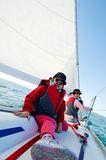 Girls sailing on yacht Royalty Free Stock Photos