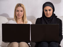 Girls with the same interests Stock Images