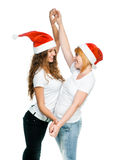 Girls in Santa hat Royalty Free Stock Photos