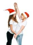 Girls in Santa hat Royalty Free Stock Photos