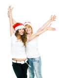 Girls in Santa hat Royalty Free Stock Image