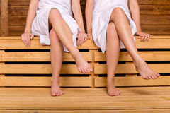 Girls in sauna. Royalty Free Stock Photos