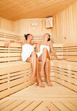 Girls sauna laughing Royalty Free Stock Image