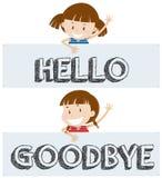 Girls saying hello and goodbye Stock Photo