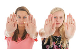 Girls saying no. With hand sign Royalty Free Stock Image