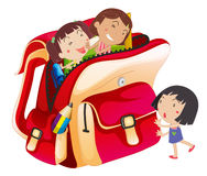Girls and school bag. Illustration of girls and school bag on a white background Royalty Free Stock Photo