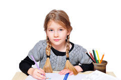 Girls school learn. To paint Stock Photos