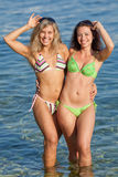 Girls at the sea. Two attractive young women in bikini at the sea Stock Images