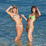 Girls at the sea. Two attractive young women in bikini at the sea Stock Photos