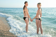 Girls at the sea Royalty Free Stock Image
