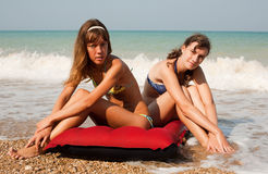 Girls at the sea royalty free stock image