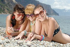 Girls at the sea Stock Photos