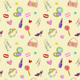 Girls seamless texture with fashion acessories vector illustration