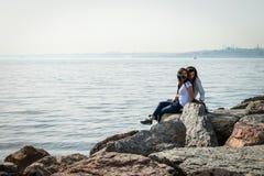Girls at seaside in Kadikoy, Istanbul, Turkey Royalty Free Stock Photography