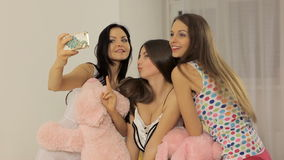 Girls a self portrait with smart phone. stock video footage