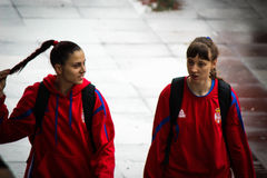 Girls from Serbian women's national basketball team Royalty Free Stock Photos