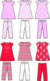 Girls set. In two different color combinations Stock Photography