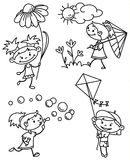 Girls set. Set with cute girl caracter, doodle version Royalty Free Stock Photos