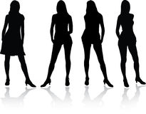 Girls Set - 4A. Silhouette Royalty Free Stock Photo