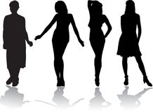 Girls set - 6. Silhouettes Royalty Free Stock Photos