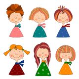 Girls. Set of cartoon characters Stock Images