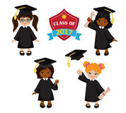 Girls. Set of children in a graduation gown and mortarboard. Stock Image