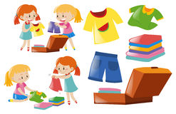 Girls and set of clothes. Illustration Stock Photo