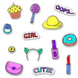 Girls set-04. Set of cute stickers with shadows on white. Sweets, girls accessories, text. Vector patch badge collection Royalty Free Stock Photography