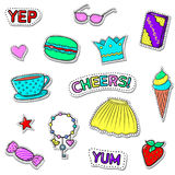 Girls set-03. Set of cute stickers with shadows on white. Sweets, girls accessories, text. Vector patch badge collection Stock Photo