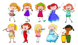 Girls. Set of girls doing different activities on a white background Royalty Free Stock Photo