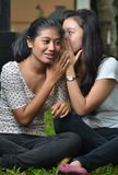 Girls sharing story or gossip. Two pretty southeast asian girls sharing exciting secret stories / gossiping (whispering to ears) with excitement at outdoor scene Royalty Free Stock Image