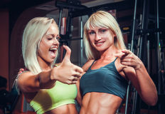 Girls with shekers relaxing in the gym Royalty Free Stock Photo