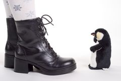 Girls shoes and cute toy Stock Photos