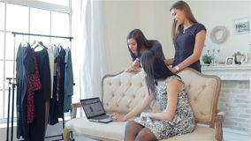 Girls shopaholics to shop online stock video footage