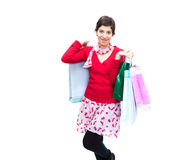 Girls and shopping. Photo of a happy girl after shopping Royalty Free Stock Images