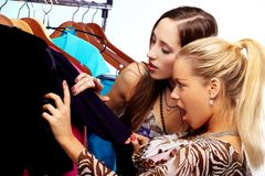 Girls on shopping Royalty Free Stock Photo