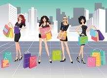 Girls and Shopping.  Royalty Free Stock Photography
