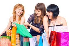 Girls with shopping Royalty Free Stock Photography