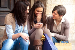 Girls after shopping Royalty Free Stock Images