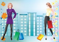 Girls with shopping. Stock Images