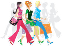 Girls shopping. Three girls shopping Royalty Free Illustration