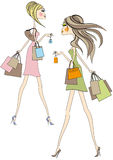Girls with shopping bags, royalty free illustration
