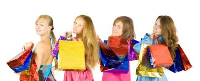 Girls with shopping bags Royalty Free Stock Photo