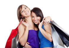 Girls with shopping bags Stock Photos