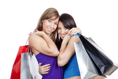 Girls with shopping bags Royalty Free Stock Photos