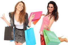 Girls with shopping bags Stock Images