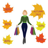 Girls with shopping bags, autumn sale. For your design Royalty Free Stock Photography