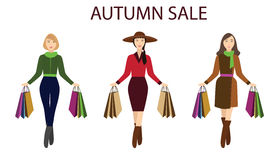 Girls with shopping bags, autumn sale Stock Photography